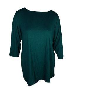 Karen Scott 3X Boat Neck Green 3/4 Sleeve Knit Top